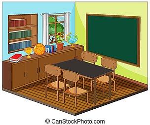 inneneinrichtung, klassenzimmer, leerer , elemente