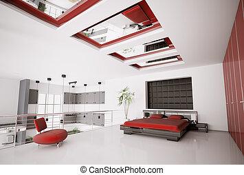 inneneinrichtung, modern, schalfzimmer, 3d