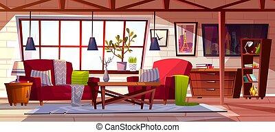 inneneinrichtung, vektor, zimmer, dachgeschoss, aufenthaltsraum, abbildung