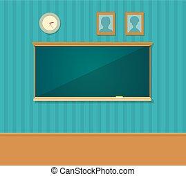 Innenraum mit Tafel. Vector flache Illustration