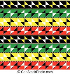 inspiriert, retro, design, farben, nwentoma, ghana, afrikanisch, vektor, geometrisch, stammes-, muster, -, oder, rasta, kente, stoffe, stil, tuch, formen, bekannt, seamless, textilien