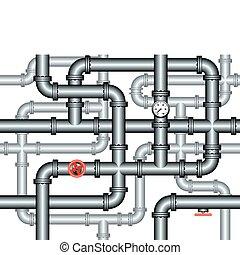 installateurarbeit, labyrinth, leitungsrohre, seamless