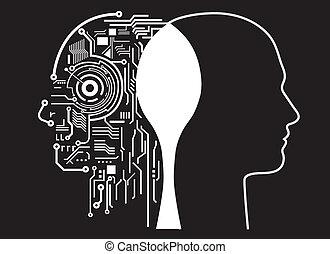 intelligenz, fusion, menschliche