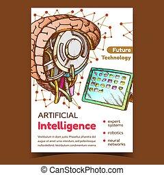 intelligenz, künstlich, vektor, werbung, plakat