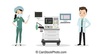 intensiv, doktor, denkt, kaukasier, spritze, sorgfalt, einheit, krankenschwester