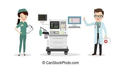 intensiv, doktor, kaukasier, sorgfalt, einheit, krankenschwester
