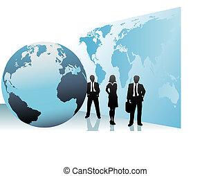 International Business People Global World Map Globus.