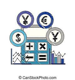 Internationale Währungen mit Taschenrechner und statistischer Grafik.