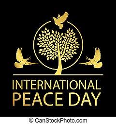 Internationaler Friedenstag Gold Emblem.