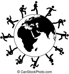 Internationales globales Symbol für Menschen, die um die Welt reisen