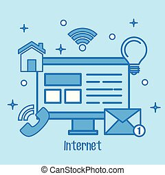 Internet concept computer screen media network icons.