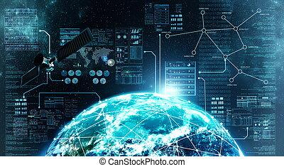 Internetverbindung im Weltraum.