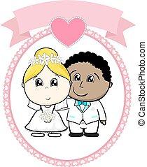 Interracial Paar Hochzeit.