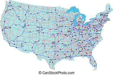 Interstate map der Vereinigten Staaten