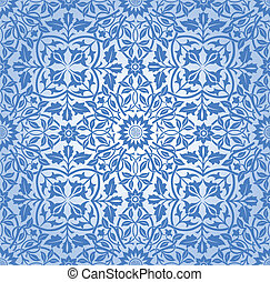 Intertwining floral Muster Blau