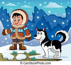 Inuit Boy mit Husky Hund.