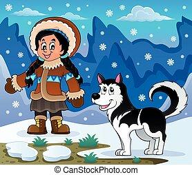 Inuit Girl mit Husky Hund.
