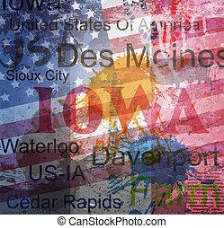 Iowa State. Ein Wort Grunge Collage im Hintergrund.
