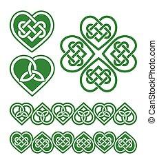 Irisch, keltisches grünes Herz.