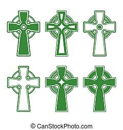Irisch, keltisches grünes Kreuz.