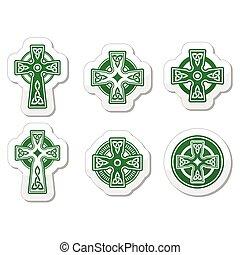 Irisch, scottish keltisches Kreuz auf Wirbel.