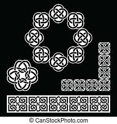 Irische keltische Muster auf Schwarz.