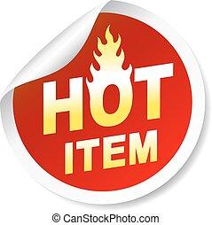 Isoliert auf weißer, heißer Gegenstand Marke mit Flamme.