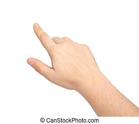 Isolierte männliche Hand, die etwas berührt oder zeigt.
