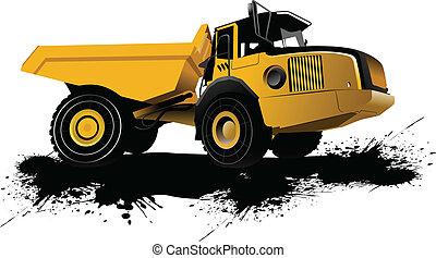Isolierter Müllwagen. Vektor-Bllust
