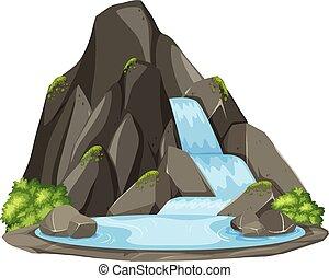 Isolierter Wasserfall auf weißem Hintergrund.