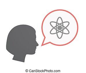 Isolierter weiblicher Kopf mit einem Atom.