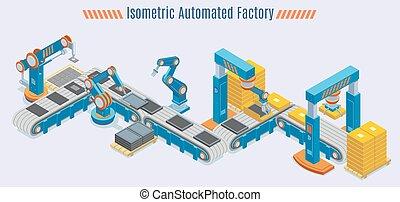 Isomerische automatisierte Produktionslinie Konzept.