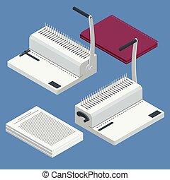 Isomerische Bindermaschine. Bindet Dokumente mit Kunststoffringbinder mit Ringbinder zur Reportvorbereitung. Vector Illustration