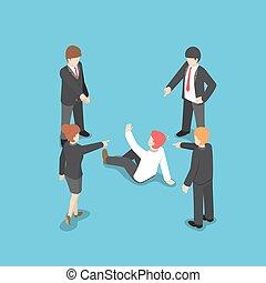 Isomerische Geschäftsleute, die mit dem Finger darauf zeigen, Geschäftsleute zu beschuldigen.