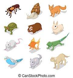 Isomerische Haustiere mit Katze, Hund, Hamster und Kaninchen. Vector 3d flache Illustration