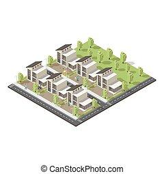 Isomerische komplexe Vorstadtgebäude Konzept.