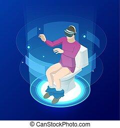 Isomerische Männer in virtueller Realität Helm sitzen auf der Toilette. Videospiele vektorische Illustration