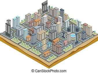 Isomerische Stadtkarte.