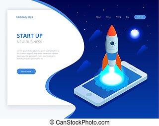 Isomerisches Startkonzept. Einkommen und Erfolg. Rocket fliegt aus dem Laptop-Bildschirm auf blauem Hintergrund. Projektentwicklung.