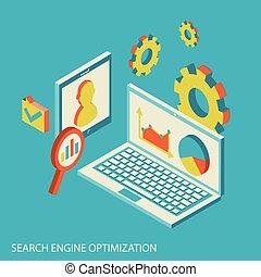 Isometric design modern concept of website analytics and SEO data analysis.