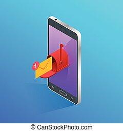 Isometric Letter und Briefkasten fliegen aus dem Telefonbild-Konzept. Vector Illustration. Mail-Kommunikation oder Connection-Nachricht an Mail-Kontakte Telefon. Globales Buchstabenkonzept