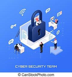 isometrisch, begriff, sicherheit, cyber