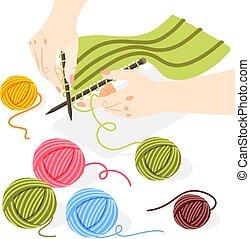 isometrisch, begriff, strickzeug