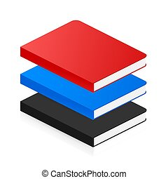isometrisch, buch, vektor, wohnung, style., illustration., ikone