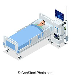 isometrisch, lungen, besorgen, mechanisch, patient., heraus, luft, medizin, belüftung, vollnarkose, bewegen, ventilator, entworfen, maschine, breathable