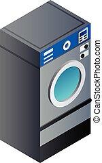 isometrisch, voll, wäscherei, stil, maschine, waschen, ikone