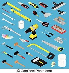 isometrisch, weißes, werkzeuge, ansicht, diy, hand, sammlung, hintergrund, freigestellt