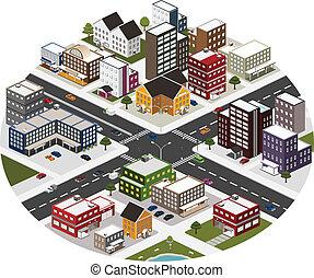 Isometrische Szene der großen Stadt