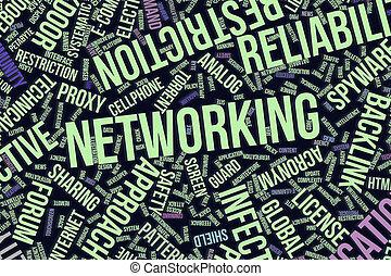 it., informationen, wort, networking, geschaeftswelt, begrifflich, technologie, oder, wolke