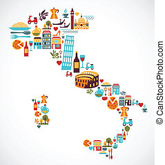 Italien-Karte mit Vektor-Ikonen